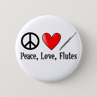 Peace, Love, and Flutes Pinback Button