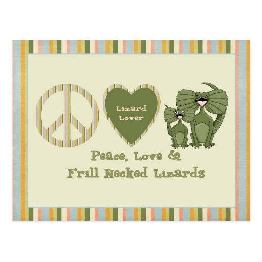 peace love and frill necked lizards postcards