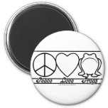 Peace Love and Frogs Fridge Magnet