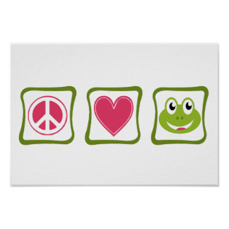 Peace Love and Frogs Squares Poster
