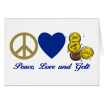 Peace, Love and Gelt Hanukkah Tees and Gifts Greeting Card