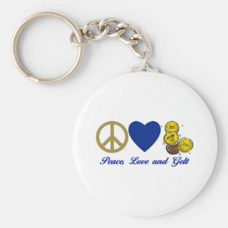 Peace, Love and Gelt Hanukkah Tees and Gifts Basic Round Button Keychain