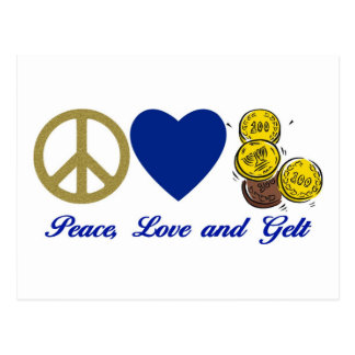 Peace, Love and Gelt Hanukkah Tees and Gifts Postcard