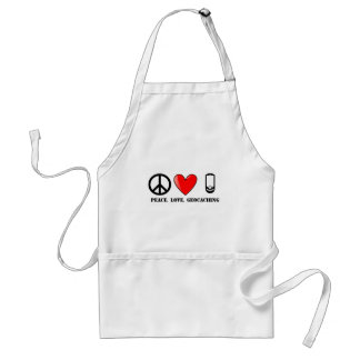 Peace, Love, and Geocaching Adult Apron