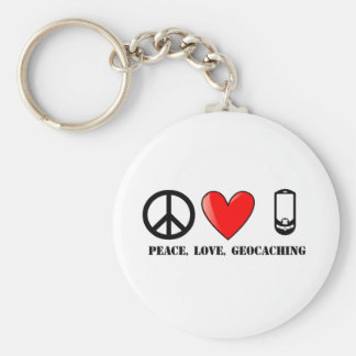 Peace, Love, and Geocaching Keychain