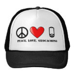 Peace, Love, and Geocaching Mesh Hat