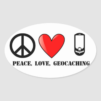 Peace, Love, and Geocaching Oval Sticker