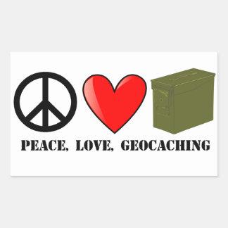Peace, Love, and Geocaching Rectangular Sticker