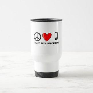 Peace, Love, and Geocaching Travel Mug