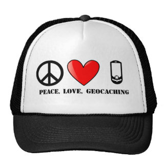 Peace, Love, and Geocaching Trucker Hat