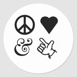 Peace Love And Get Your Guns Up Classic Round Sticker