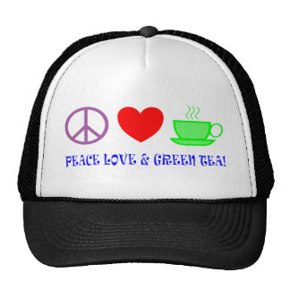 PEACE LOVE AND GREEN TEA TEXT AND IMAGE BRIGHTS MESH HATS