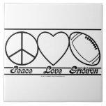 Peace Love and Gridiron Ceramic Tile