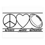 Peace Love and Gridiron Postcard