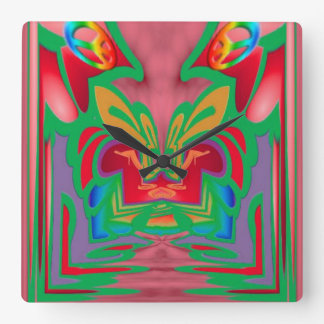 Peace, Love and Groovy Abstract Square Wall Clock