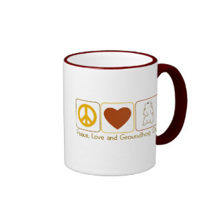 Peace, Love and Groundhog Day Ringer Mug
