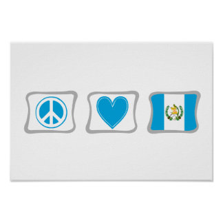 Peace Love and Guatemala Squares Poster