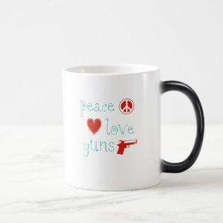 Peace Love and Guns Magic Mug