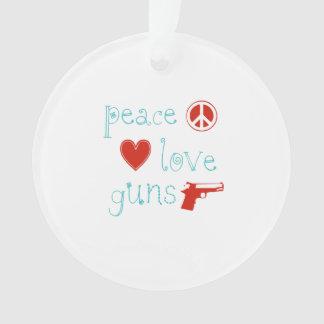 Peace Love and Guns Ornament