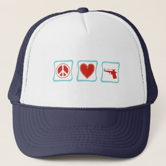 Peace Love and Guns Squares Trucker Hat