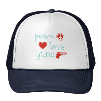Peace Love and Guns Trucker Hat
