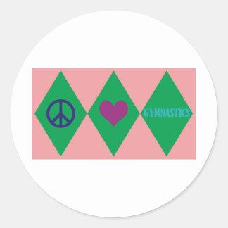 Peace Love and Gymnastics Argyle Classic Round Sticker