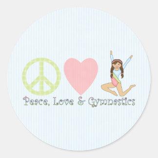 Peace, Love and Gymnastics Brunette Classic Round Sticker