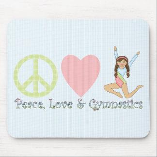 Peace, Love and Gymnastics Brunette Mouse Mat