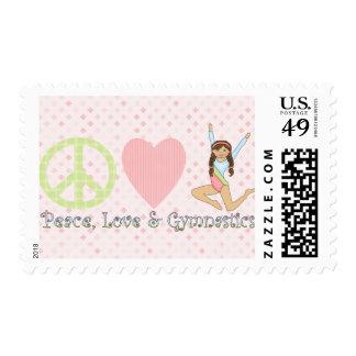 Peace, Love and Gymnastics Brunette Postage Stamp