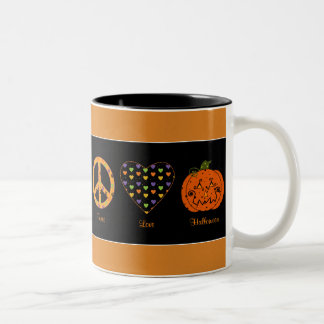 Peace, Love And Halloween Mug