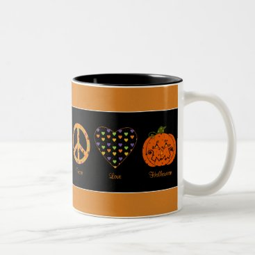 Valentines Themed Peace, Love And Halloween Mug