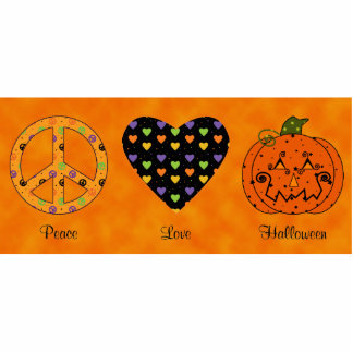 Peace, Love And Halloween Ornament