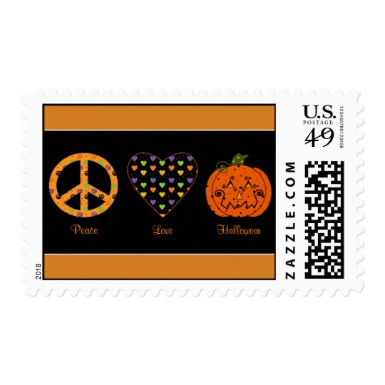 Peace, Love And Halloween Postage Stamp