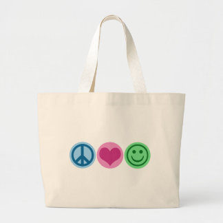Peace Love and Happiness Canvas Bags