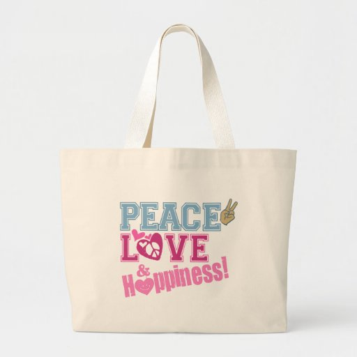 Peace Love and Happiness Canvas Bag