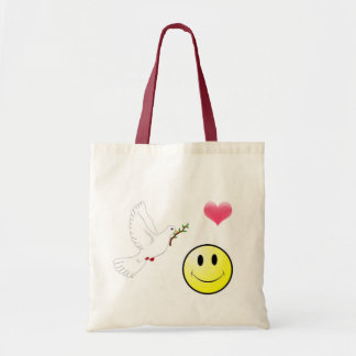 Peace, Love, and  happiness Tote Bags