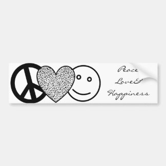 Peace Love and Happiness Bumper Sticker