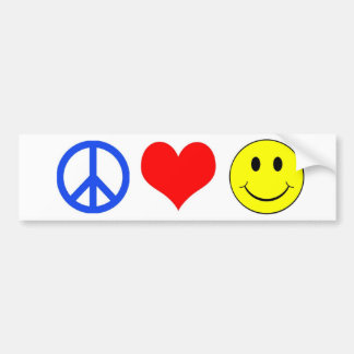 Peace, Love and Happiness bumper sticker
