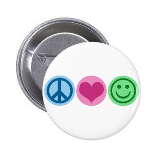 Peace Love and Happiness Buttons