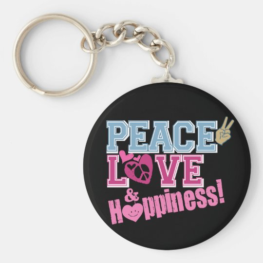 Peace Love and Happiness Keychain