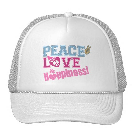 Peace Love and Happiness Mesh Hat