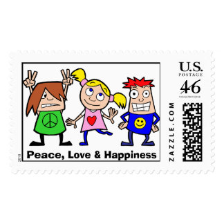 Peace Love and Happiness postage stamp