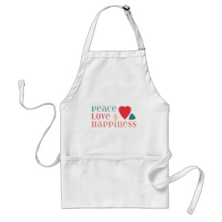 Peace Love and Happiness Saying Adult Apron