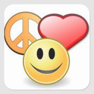 Peace, Love, and Happiness Square Sticker