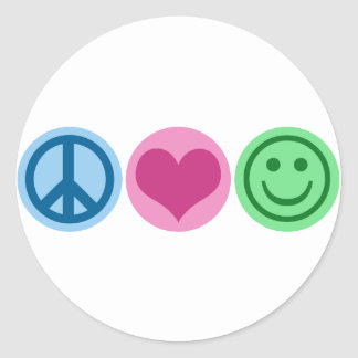 Peace Love and Happiness Round Stickers
