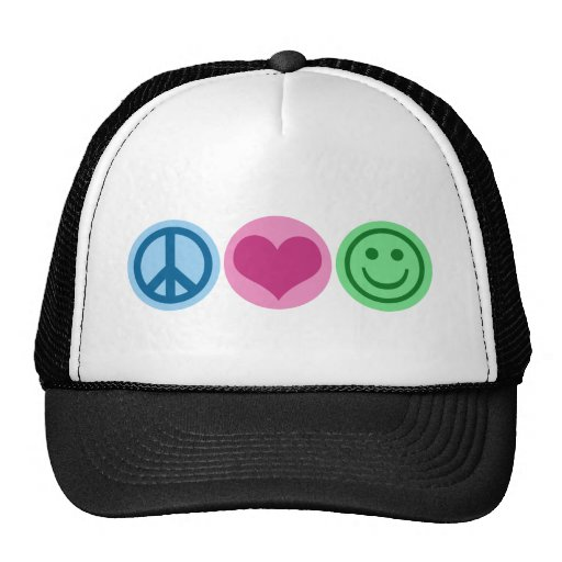 Peace Love and Happiness Trucker Hat