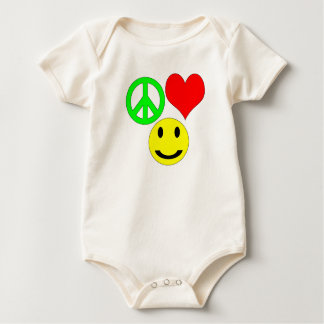 peace love and happiness wish baby bodysuit