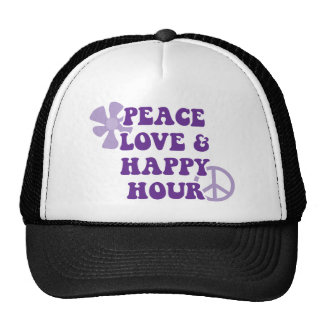 Peace Love and Happy Hour Mesh Hats