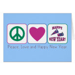 Peace, Love and Happy New Year Greeting Cards