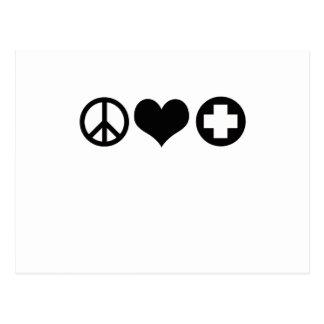 Peace Love and Health Care black Postcard